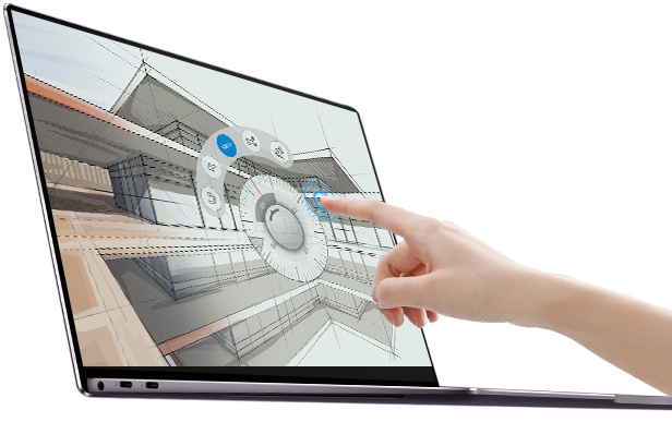 HUAWEI MateBook X Pro showing its touch screen feature