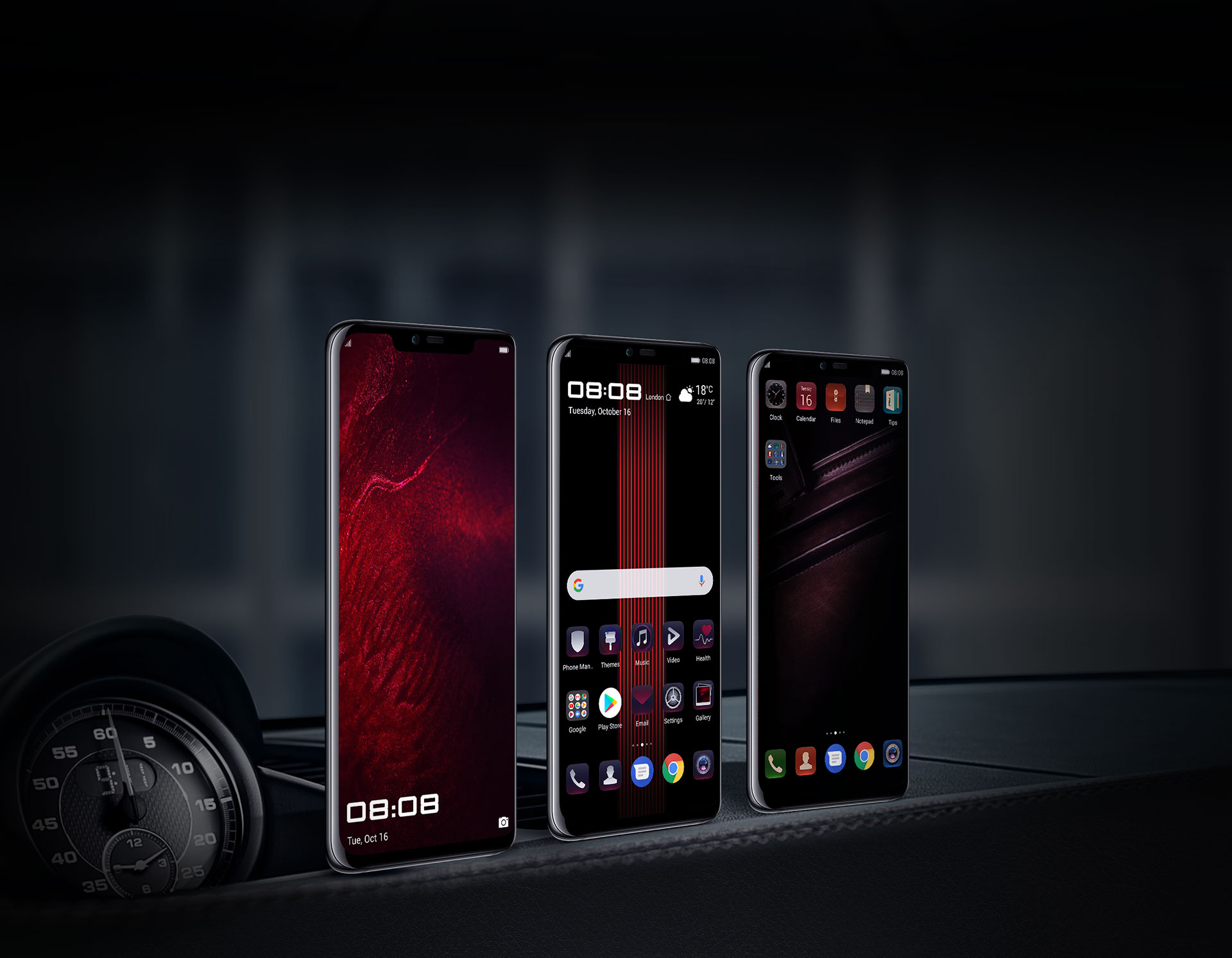 Three different customised UI for wallpaper for PORSCHE DESIGN HUAWEI Mate 20 RS