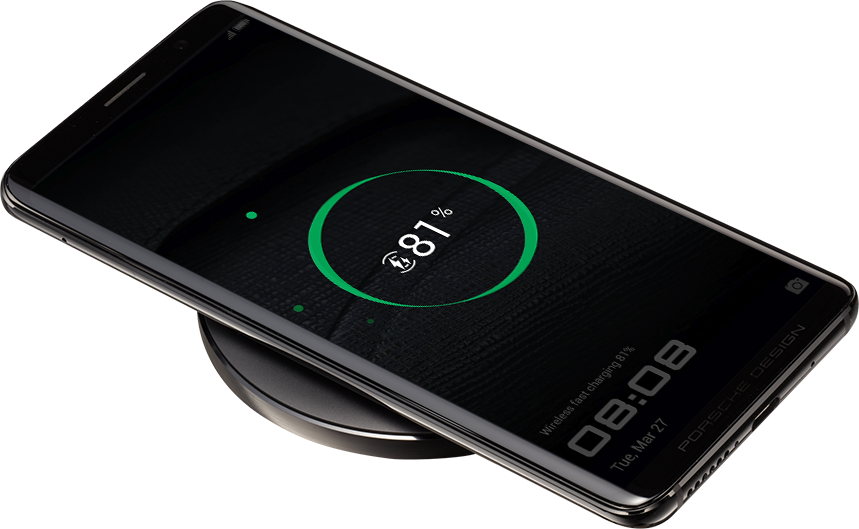 Porsche Design Huawei Mate RS showing wireless super charge feature – 4,000 mAh battery