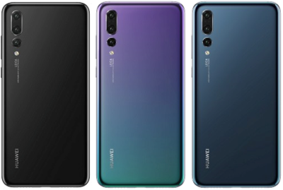 Die HUAWEI P20 Pro Farbpalette: Black, Twilight und Midnight Blue.