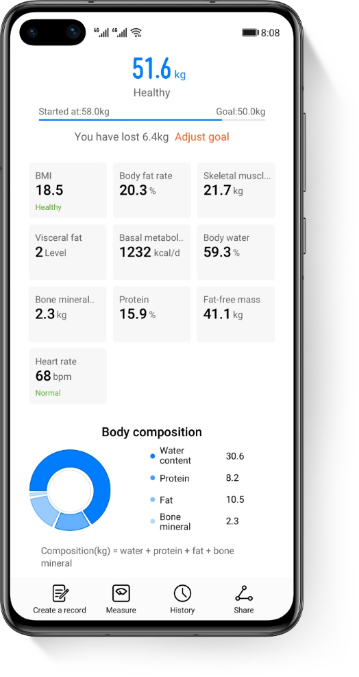 HUAWEI Scale 3 body composition analysis report
