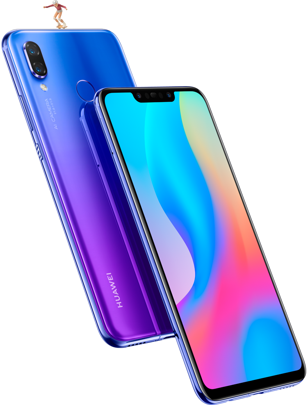 Huawei nova 3 front and back shot