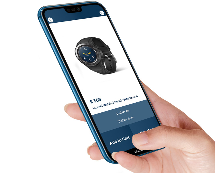 HUAWEI p20 lite with a smart watch on the screen