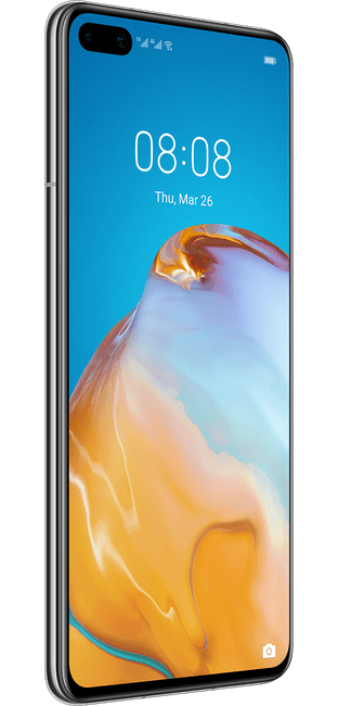 huawei p40 ice white colour left side