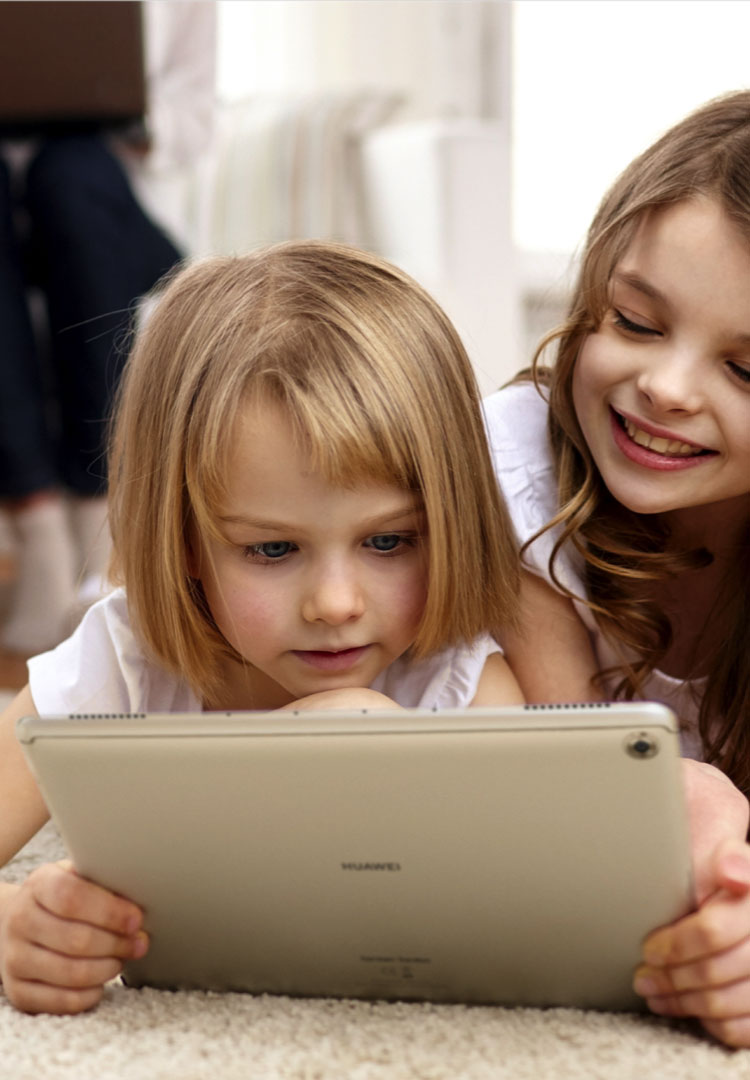 Huawei mediapad m5 lite girls watching happily