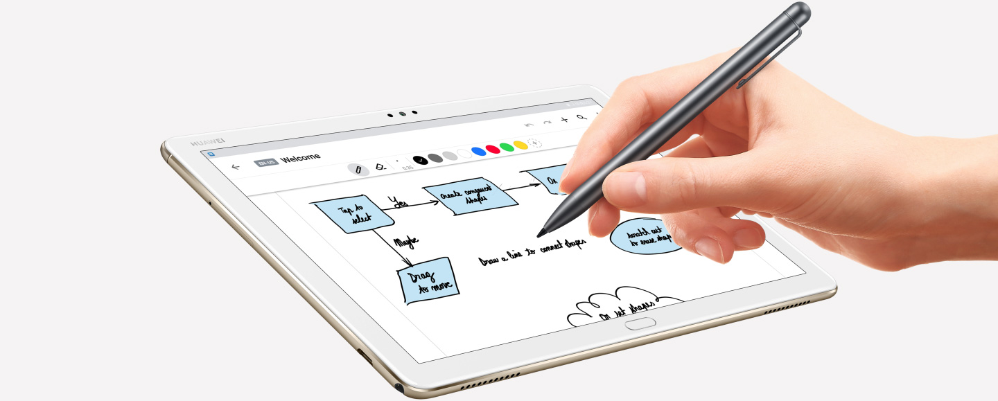 Huawei mediapad m5 lite showing m-pen functions