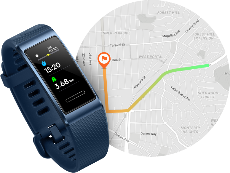 HUAWEI Band 3 Pro built-in GPS and 7 hours endurance
