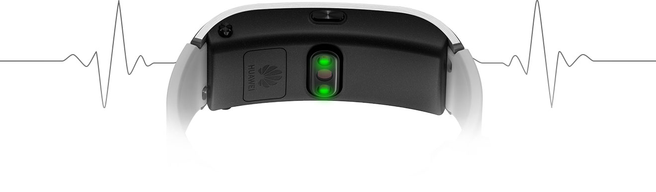 HUAWEI Talkband B5 showing its monitor sensor