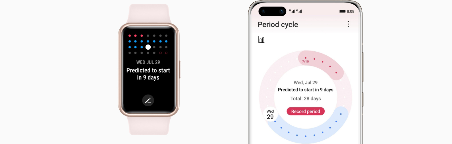 huawei watch fit-menstruation cycle tracking