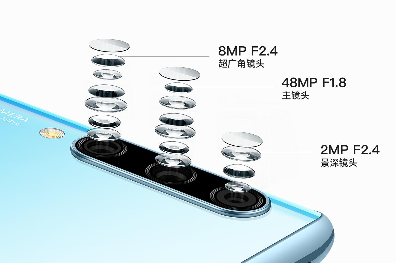 Huaweiは10 Plus 4,800万AIの3枚の写真を楽しみます