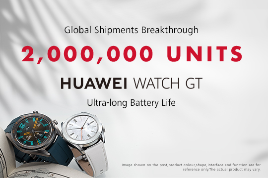 HUAWEI WATCH GT sells more than two million units globally contributing to  Y-o-Y growth of 282.2% for its wearable product line