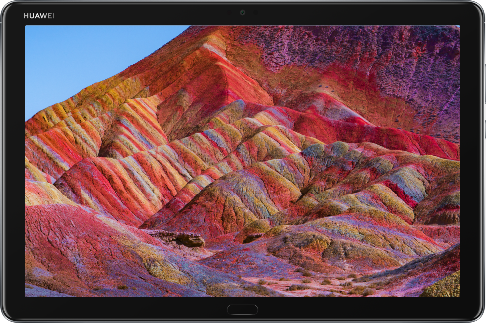 Huawei mediapad m5 lite display showing fantastic landscape