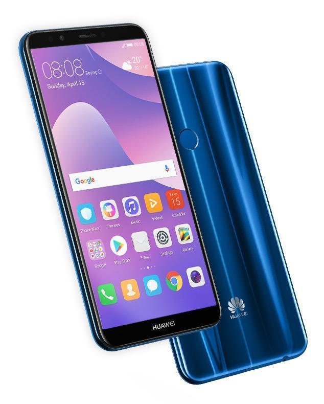 هاتف huawei y7 prime 2018 من الأمام والخلف باللون الأزرق مع واجهة emui 8