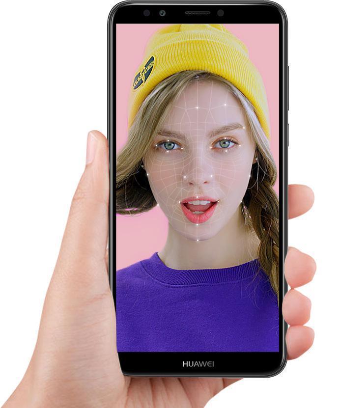 هاتف huawei y7 prime 2018 من الأمام باللون الأسود مع خاصية بصمة الوجه