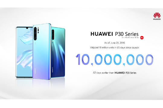 HUAWEI P30 Series Breaks the Record for Reaching 10 Million Sales within Shortest Time