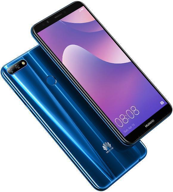 هاتف huawei y7 prime 2018 من الأمام والخلف باللون الأزرق