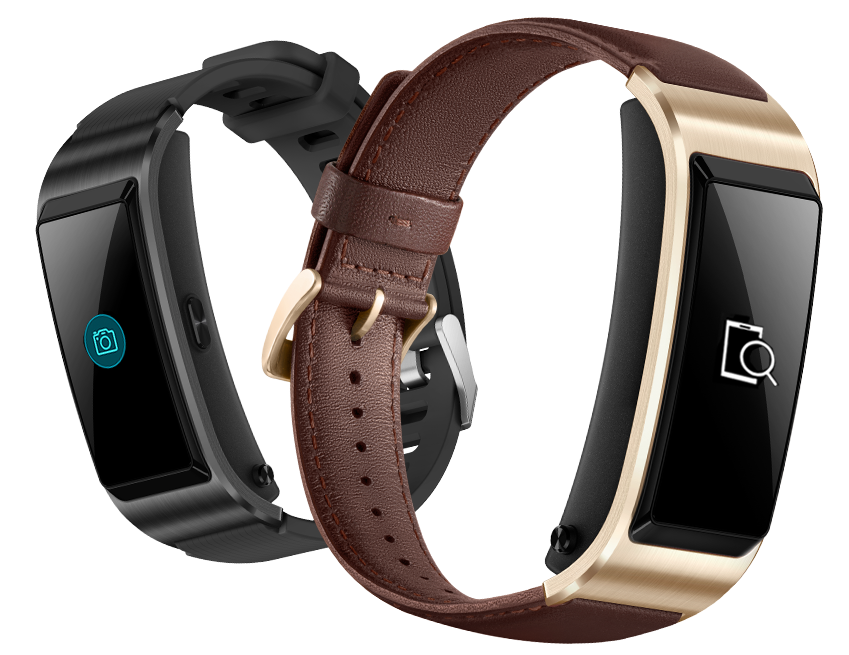 black and blue HUAWEI Talkband B5