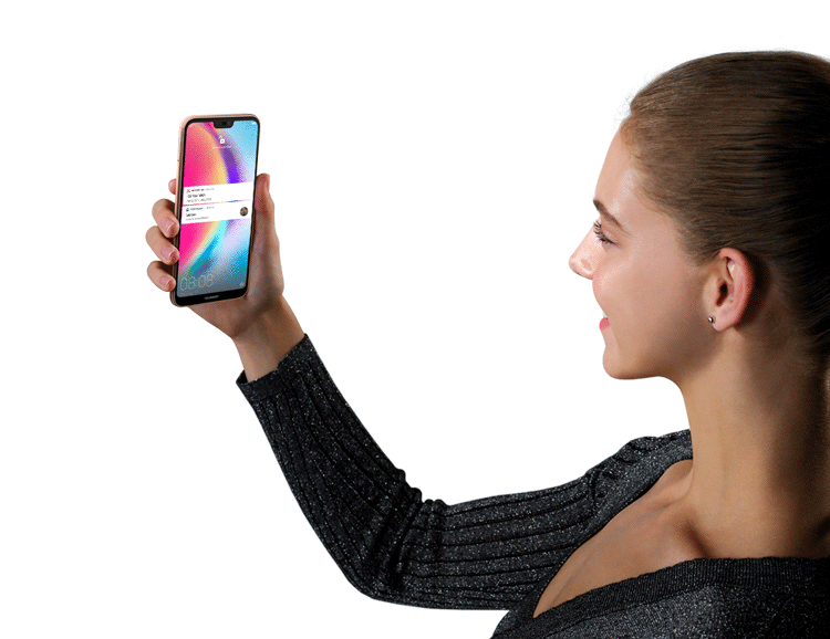 Woman using the facial recognition in HUAWEI P20 lite