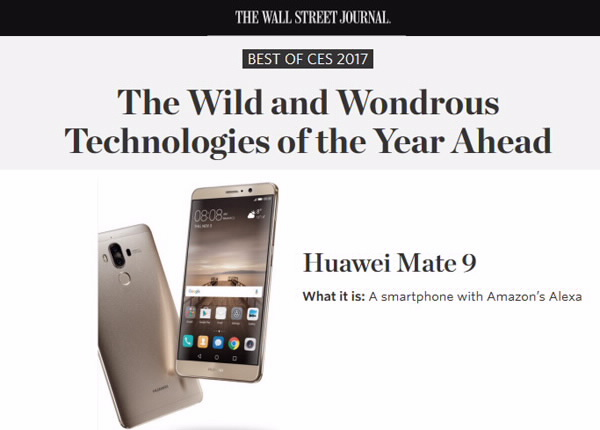 HUAWEI Mate 9 Wins Eight Awards at CES 2017