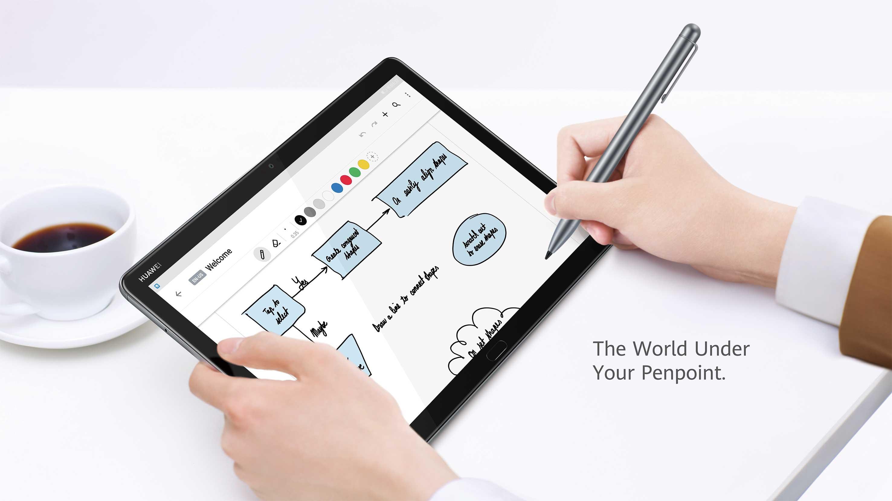 Huawei mediapad m5 lite showing m-pen functions