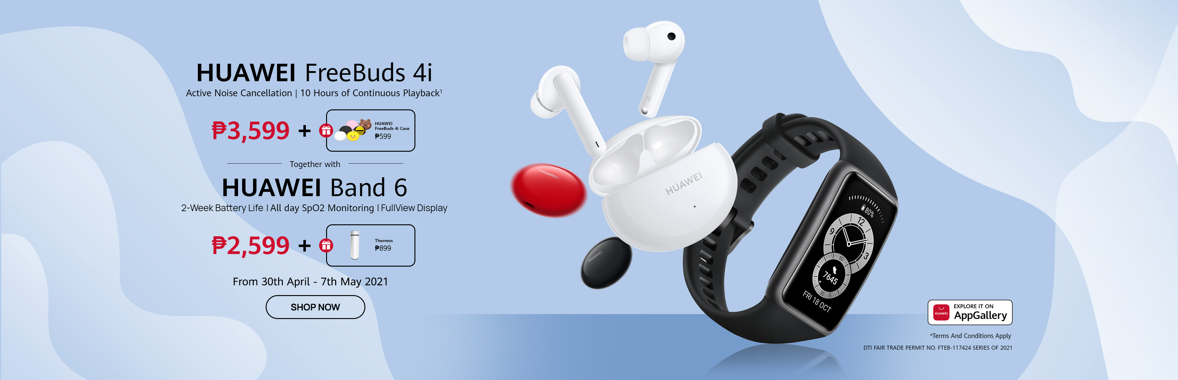 HUAWEI Freebuds 4i and HUAWEI Band 6
