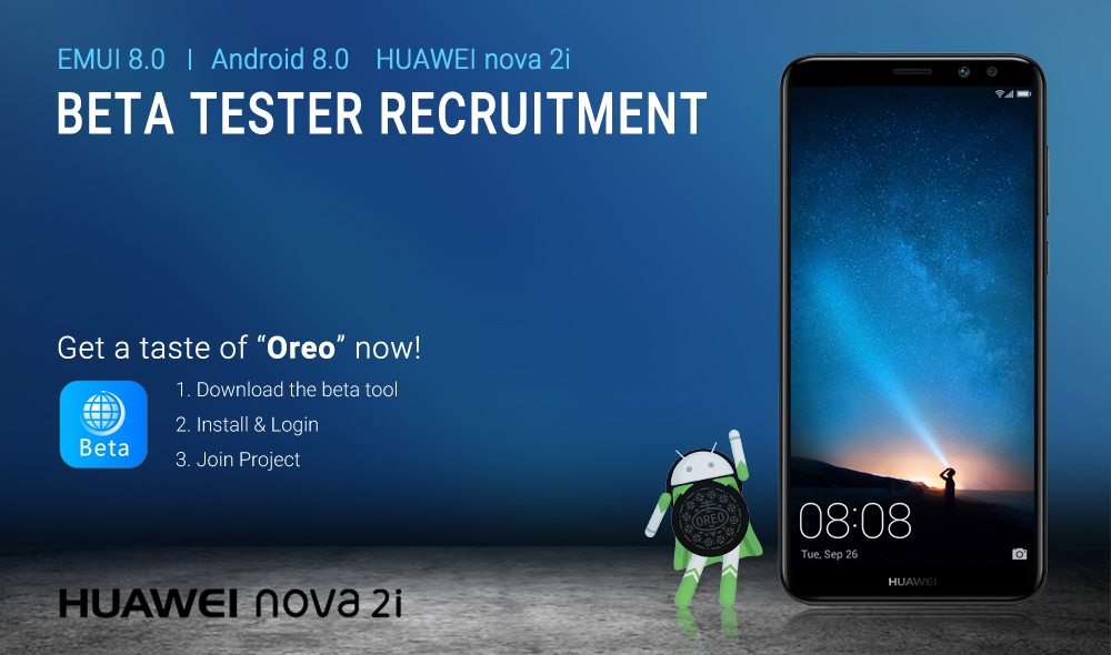 EMUI 8.0 Beta Tester Recruitment Poster_with Beta Tool (HUAWEI nova 2i)