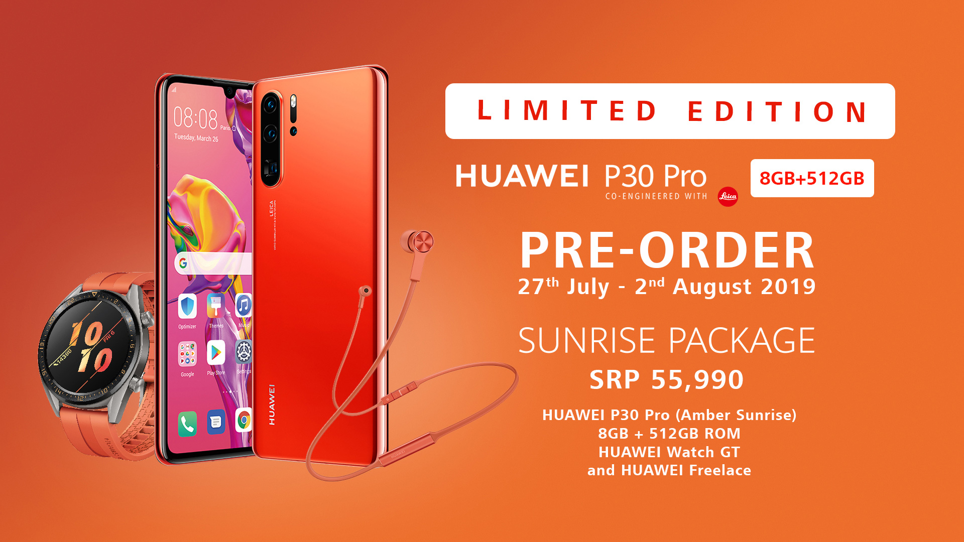 LIMITED EDITION HUAWEI P30 PRO AMBER SUNRISE (8 GB RAM + 512