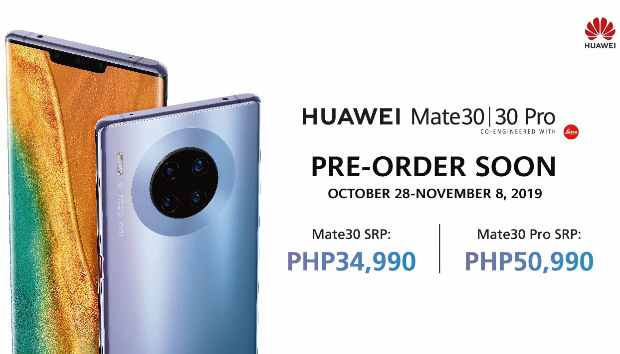 HUAWEI Mate 30 Series Pre-Order Starts from 28-Oct to 8-Nov 2019 in the Philippines
