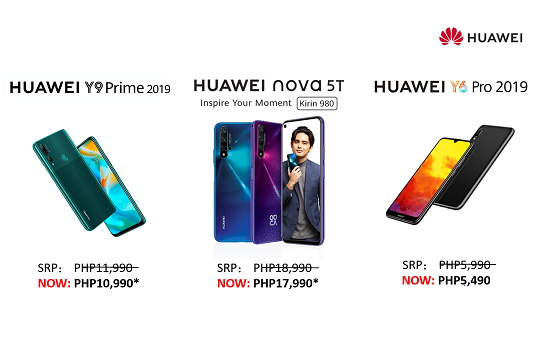 Get Your HUAWEI nova 5T, HUAWEI Y9 Prime 2019, and HUAWEI Y6 Pro 2019 in Up-To PHP1,000 OFF from Nov-22 2019
