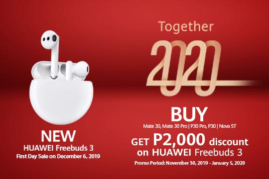 Enjoy P2,000 Discount on HUAWEI FreeBuds 3 from 30-Nov 2019
