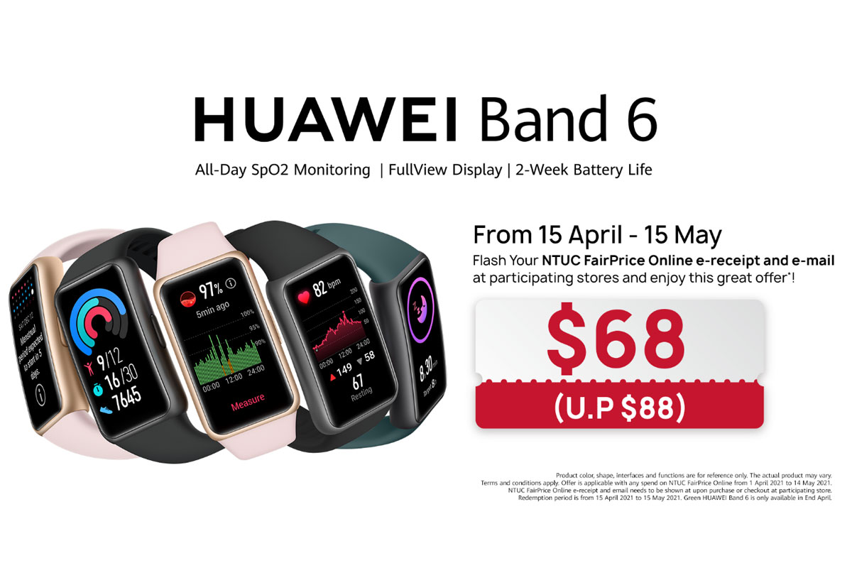 New full-screen fitness tracker HUAWEI Band 6 with two-week battery life launches in Singapore