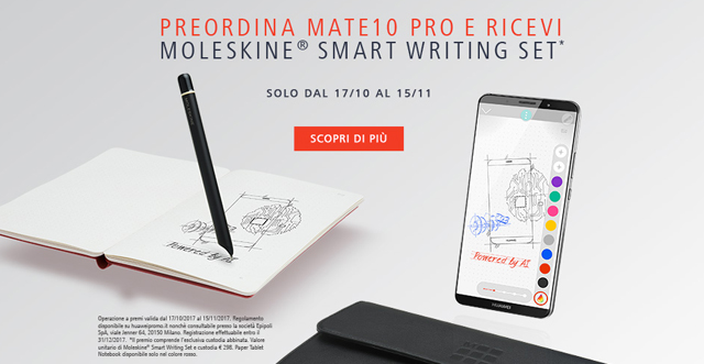 Preordina Mate 10 Pro e ricevi Moleskine Smart Writing Set